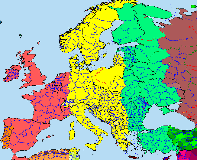 Time Zone Map of Europe